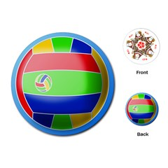 Balloon Volleyball Ball Sport Playing Cards (round)