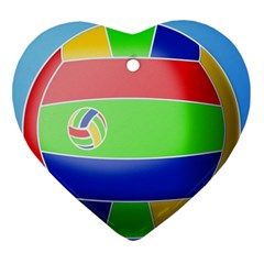 Balloon Volleyball Ball Sport Heart Ornament (Two Sides)