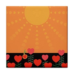 Love Heart Valentine Sun Flowers Tile Coasters
