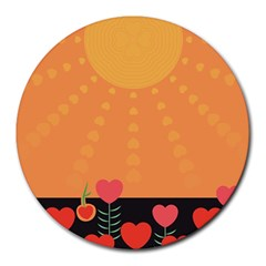 Love Heart Valentine Sun Flowers Round Mousepads