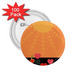 Love Heart Valentine Sun Flowers 2.25  Buttons (100 pack)