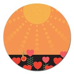 Love Heart Valentine Sun Flowers Magnet 5  (Round)