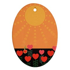 Love Heart Valentine Sun Flowers Oval Ornament (Two Sides)