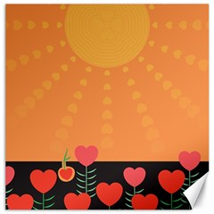Love Heart Valentine Sun Flowers Canvas 12  X 12