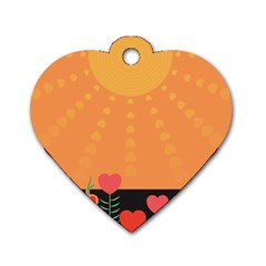 Love Heart Valentine Sun Flowers Dog Tag Heart (One Side)