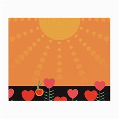 Love Heart Valentine Sun Flowers Small Glasses Cloth (2-Side)