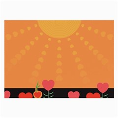 Love Heart Valentine Sun Flowers Large Glasses Cloth