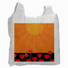 Love Heart Valentine Sun Flowers Recycle Bag (Two Side)