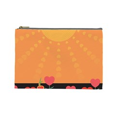 Love Heart Valentine Sun Flowers Cosmetic Bag (large)