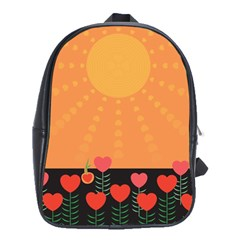 Love Heart Valentine Sun Flowers School Bags(large)