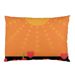 Love Heart Valentine Sun Flowers Pillow Case (two Sides)