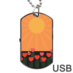 Love Heart Valentine Sun Flowers Dog Tag USB Flash (Two Sides)
