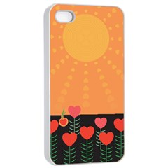 Love Heart Valentine Sun Flowers Apple iPhone 4/4s Seamless Case (White)