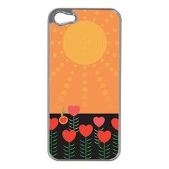 Love Heart Valentine Sun Flowers Apple Iphone 5 Case (silver)