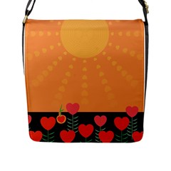 Love Heart Valentine Sun Flowers Flap Messenger Bag (L)