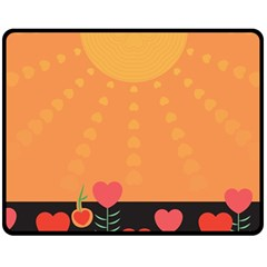 Love Heart Valentine Sun Flowers Double Sided Fleece Blanket (medium)