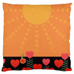Love Heart Valentine Sun Flowers Large Flano Cushion Case (Two Sides)