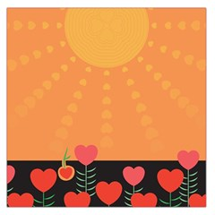 Love Heart Valentine Sun Flowers Large Satin Scarf (square)