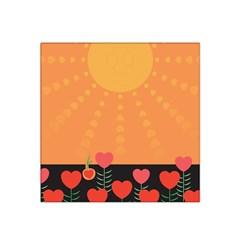 Love Heart Valentine Sun Flowers Satin Bandana Scarf