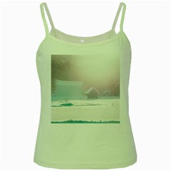 Winter Day Pink Mood Cottages Green Spaghetti Tank