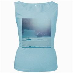 Winter Day Pink Mood Cottages Women s Baby Blue Tank Top