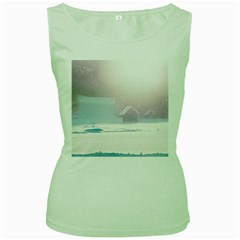 Winter Day Pink Mood Cottages Women s Green Tank Top