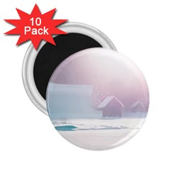 Winter Day Pink Mood Cottages 2.25  Magnets (10 pack)