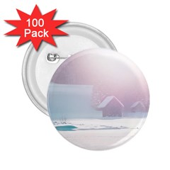 Winter Day Pink Mood Cottages 2.25  Buttons (100 pack)