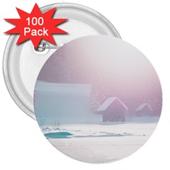 Winter Day Pink Mood Cottages 3  Buttons (100 Pack)