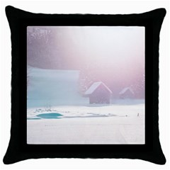 Winter Day Pink Mood Cottages Throw Pillow Case (black)