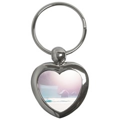 Winter Day Pink Mood Cottages Key Chains (heart)