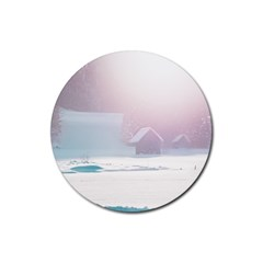 Winter Day Pink Mood Cottages Rubber Round Coaster (4 Pack)