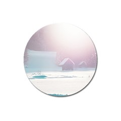 Winter Day Pink Mood Cottages Magnet 3  (Round)
