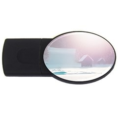 Winter Day Pink Mood Cottages USB Flash Drive Oval (1 GB)