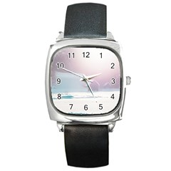 Winter Day Pink Mood Cottages Square Metal Watch
