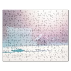 Winter Day Pink Mood Cottages Rectangular Jigsaw Puzzl