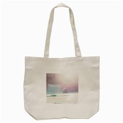 Winter Day Pink Mood Cottages Tote Bag (Cream)