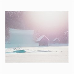 Winter Day Pink Mood Cottages Small Glasses Cloth