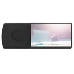 Winter Day Pink Mood Cottages Usb Flash Drive Rectangular (4 Gb)