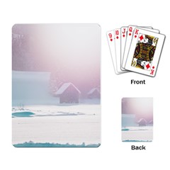 Winter Day Pink Mood Cottages Playing Card