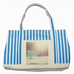 Winter Day Pink Mood Cottages Striped Blue Tote Bag