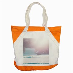 Winter Day Pink Mood Cottages Accent Tote Bag