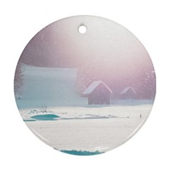 Winter Day Pink Mood Cottages Round Ornament (Two Sides)