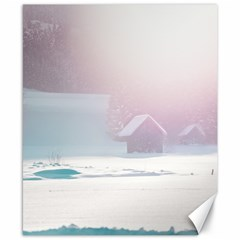 Winter Day Pink Mood Cottages Canvas 8  X 10