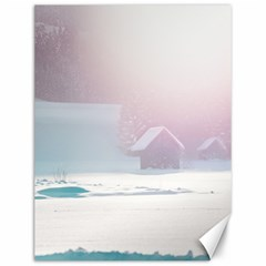 Winter Day Pink Mood Cottages Canvas 12  x 16