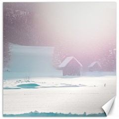 Winter Day Pink Mood Cottages Canvas 20  x 20