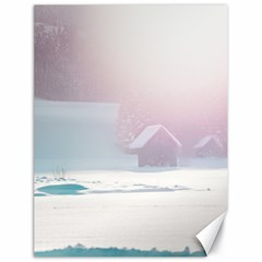 Winter Day Pink Mood Cottages Canvas 18  X 24