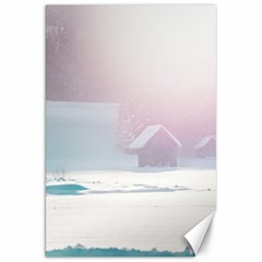 Winter Day Pink Mood Cottages Canvas 20  x 30