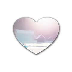Winter Day Pink Mood Cottages Heart Coaster (4 Pack)