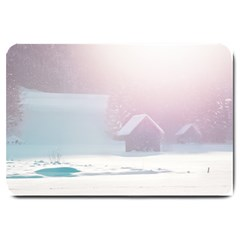 Winter Day Pink Mood Cottages Large Doormat